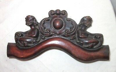 antique ornate 1800's figural hand carved wood architectural salvage pediment