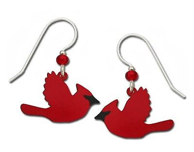 Sienna Sky Red Cardinals in Flight Bird Hand Painted Earrings Gift Box Made USA