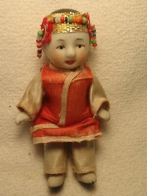 """Vintage Asian Chinese Bisque Doll Miniature 3.5"""" Beaded Headband Antique"""