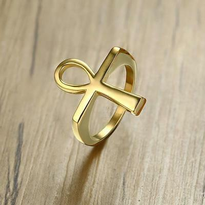 Cross Men Ring Gold Tone Stainless Steel Ankh Egyptian  Life Rings Jewelry