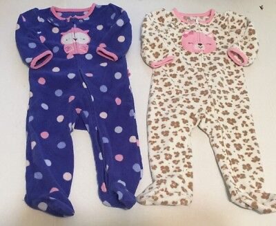 Child of Mine by Carters Baby Girls Sleeper Pajamas 6-9M 6M 9M Owl Cat Lot Of 2