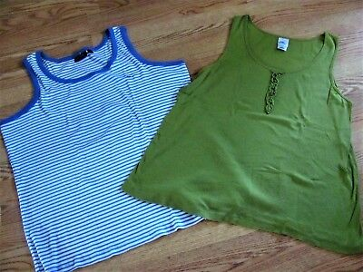 NWT Lot 2  AVENUE/JMS  Stripe & Solid Ribbed Tank Tops 3X 26/28