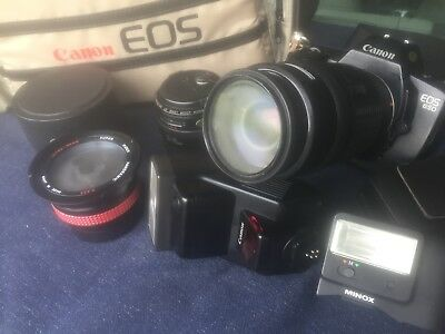 Vintage Canon EOS 650 AF 35mm  SLR camera with 3 lenses, accessories