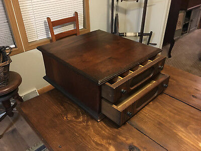 "Antique Walnut Goff's Braid ""best Made"" 2 Drawer Spool Cabinet - Dovetailed"