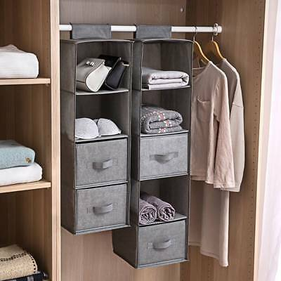 Hanging Garment Organiser Wardrobe Room Storage Shoe Clothes 3-5 Section Shelves