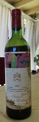 1975 Chateau Mouton Rothschild Red Bordeaux Wine Bottle w/Andy Warhol Label