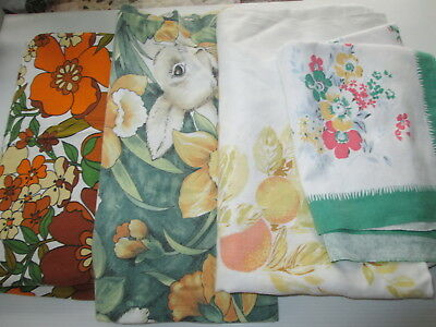 Vintage Table Cloth Lot x 4 Tableclothes Floral Bunny Fruit Retro