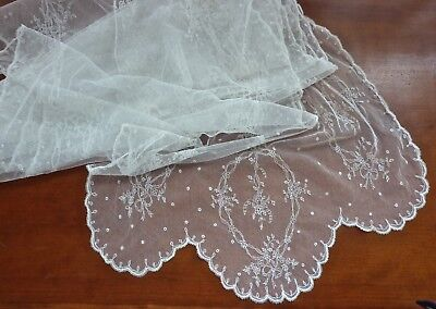 ANTIQUE French Hand Embroidered Tambour NET Lace Bridal Wedding Flounce VEIL