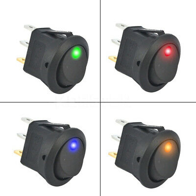 4X DC12V 3 Pins Car Round Rocker Dot Boat LED Light Toggle Switches ON/OFF New