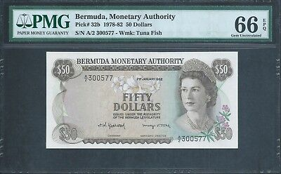 BERMUDA $50 P32b 1982 Low no. 577 PMG 66 EPQ