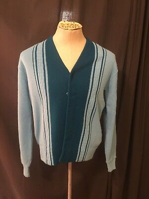 VINTAGE 1960s 70s ARENA ACRYLIC 2-TONE BLUE STRIPED SWEATER CARDIGAN MENS MEDIUM