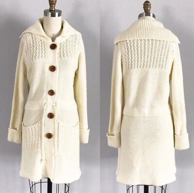 Gorgeous Vintage 70's Cream Long Knit Sweater Cardigan Tie Waist Wooden Buttons