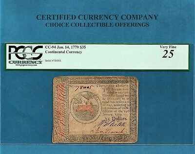 1779 $ 35 Continental Colonial Note CC-94 PCGS Very Fine 25 Nice Collectible