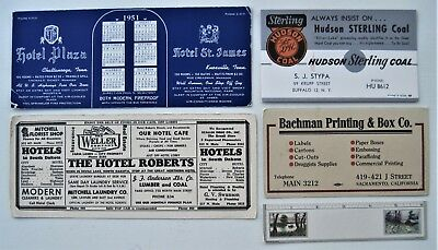 "FIVE Different Ink Blotters, Hotels, Coal, Box Company & 6"" Ruler Blotter"