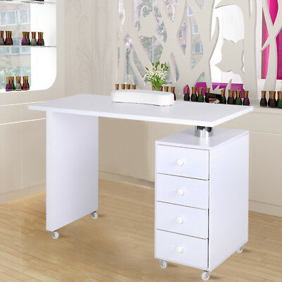 Modern Manicure Table Nail Station Desk with Drawers and Lockable Castors Wheels