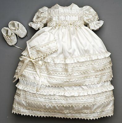Beautiful Baby Girl Christening Gown    Baptism Heirloom Set, Matching Shoes & B