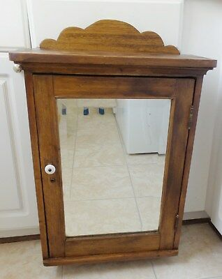 Antique Solid Wood Medicine Cabinet With Beveled Mirror Two Glass Shelves