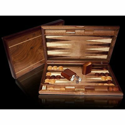 Dal Rossi Backgammon Set Walnut Burl 48cm Case - Brand New