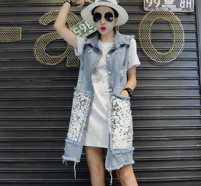 QI Women Sequins Long Jean Casual Jacket Ripped Hole Washed Fashion Blue Denim