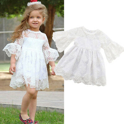 Toddler Kids Baby Girl Dress Lace Floral Party Tutu Dress Pageant Bridesmaid