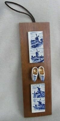 "Rare Vintage Delft Blue Tile Plaques Handpainted Holland Wood 9.5"" x 3"""