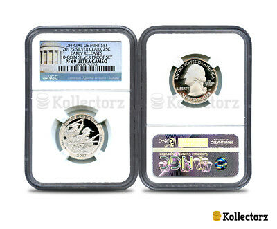 2017 S SILVER CLARK 25c 10-COIN PROOF SET NGC PF69 ULTRA CAMEO EARLY RELEASES!