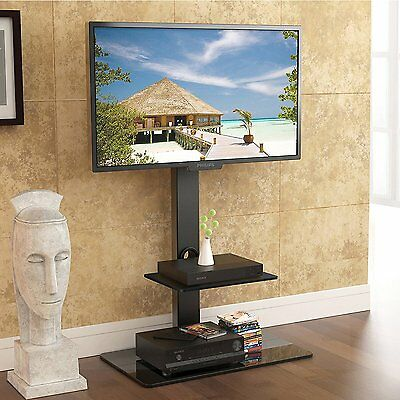 """Tall TV Stand Swivel Mount with Component Shelf for 32'' to 65"""" Samsung Sony TV"""