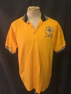 Vintage Church Of Scientology Volunteer Minister Polo Shirt Yellow Mens Large