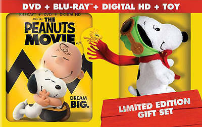 The Peanuts Movie Blu-ray+DVD+Digital HD+Snoopy Toy Limited Edition Gift Set NEW