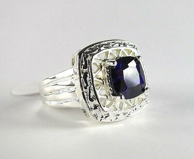Purple Amethyst solitaire simulated gemstones ladies silver ring size 7 R*15156