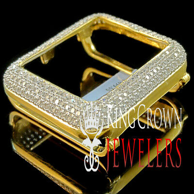 new concept 77f38 011ae 10K YELLOW GOLD Over Real Silver Apple Watch Bezel Series # 1 Diamond Cover  Case