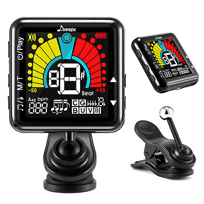 Donner Rechargeable Clip on Tuner for Guitar Ukulele Banjo Vionlin Mandolin Best
