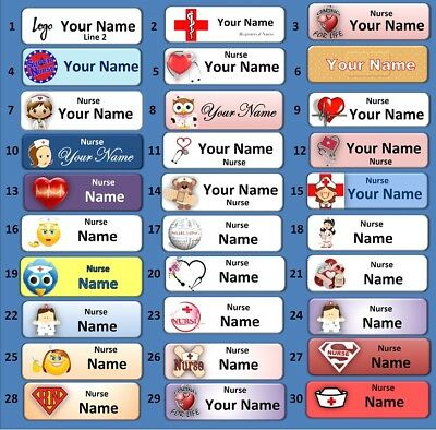 Choose a 25mm x 70mm Rectangular Nurse Name Tag (Pin back) (400 & Customisation)