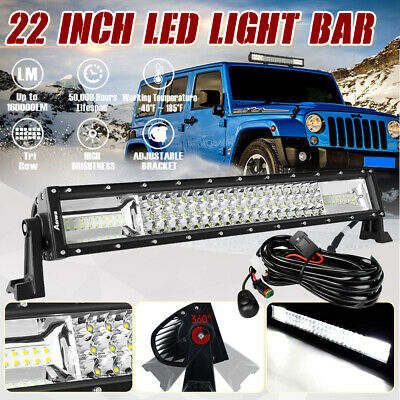 "22inch CREE LED Driving Light Bar Spot Flood Offroad 4WD 22/23"" + DT Wiring Kit"