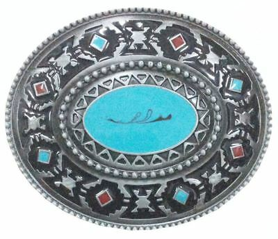 Aztec Belt Buckle   Turquoise & Red