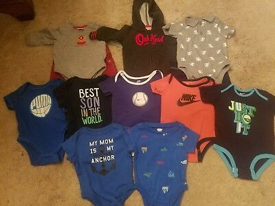 Baby boys lot 0-3 months newborn infant clothes summer bodysuits outfits