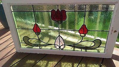Stained Glass Window Antique Federation Victorian Vintage Beautiful Cedar Frame