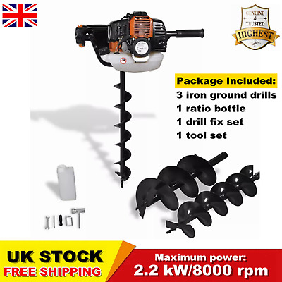 52cc Earth Auger Post Hole Digger Borer Drill 3 Bits Fence 2.2 kW/8000 rpm SALE