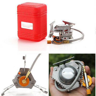3500W Portable Gas Burner Foldable Outdoor Picnic Camping Mini Steel Stove &Case