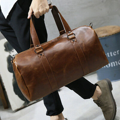 New Mens Multi-function Large Leather Travel Gym Bag Weekend Duffle Bag Handbag