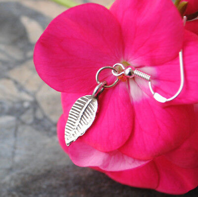 Small Silver Leaf Earrings Double Sided Handmade Thai Silver Ethnic Tribal