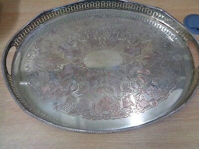 Large Patterned Vintage metal serving tray with handles 44cm W 33cm H
