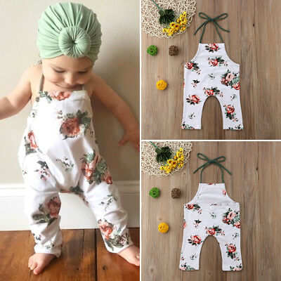 Toddler Infanr Baby Kids Girls Sleeveless Flower Halter Romper Jumpsuit Outfits