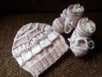 Baby Beanie & Booties Set. Hand-knitted by me. Powder Pink. Lightweight & Soft.
