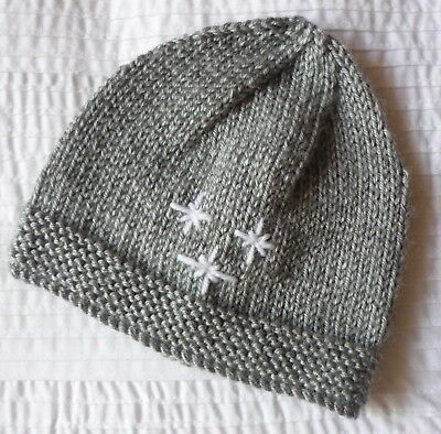 Baby Beanie (Newborn). Grey Colour. Boy Or Girl Baby. Hand-Knitted By Me. Soft!