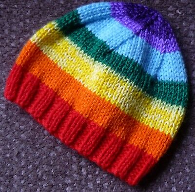 BABY BEANIE HAND-KNITTED BY ME. Rainbow Colours. Newborn to 3 M