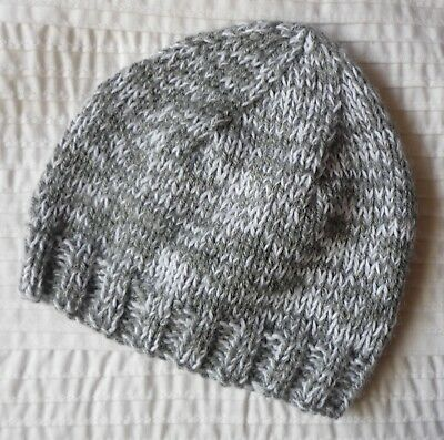 Baby Beanie (Newborn). Grey/white. Boy Or Girl Baby. Hand-Knitted By Me.