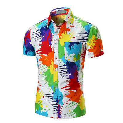 Mens Buttons Hawaiian Shirts Colorful Short Sleeve Shirt Pigment Printed%