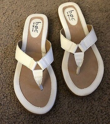 b8d18197f8ed Born Concept BOC White Leather Sandals Shoe Flip Flops Womens s Size 7M