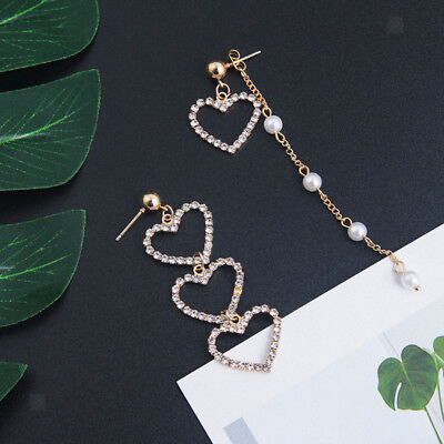Chic Love Heart Pendant Long Tassel Earrings Gold Peach Heart Drop Earrings